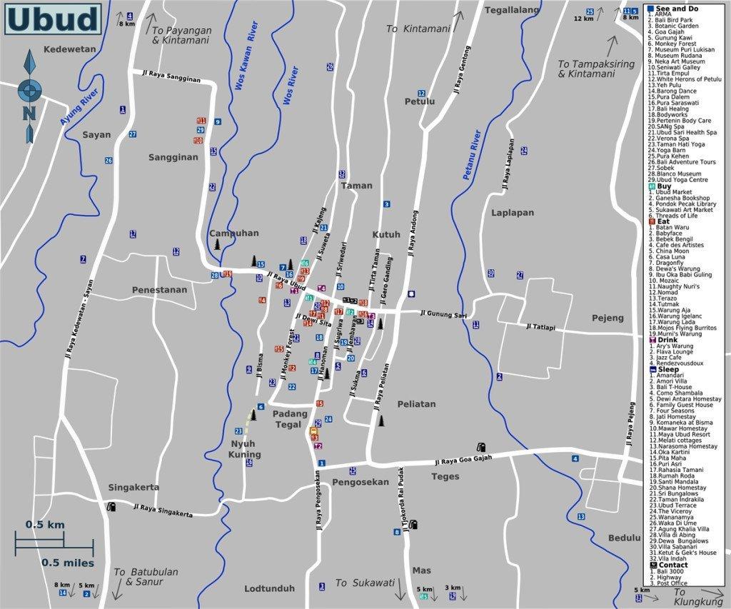 Ubud Map Bali Island Tourist Information